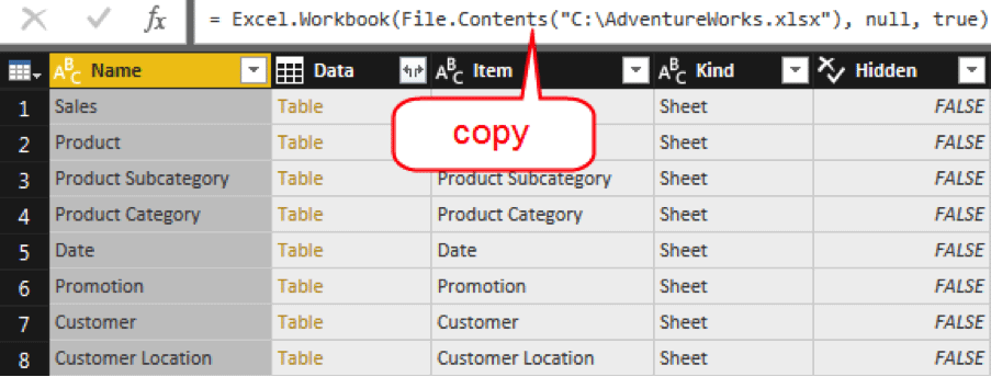 Select the source query.