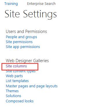 Site Settings, Site Columns menu item