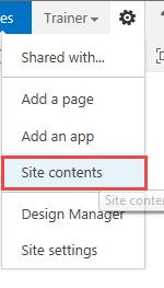 Choose Site Contents
