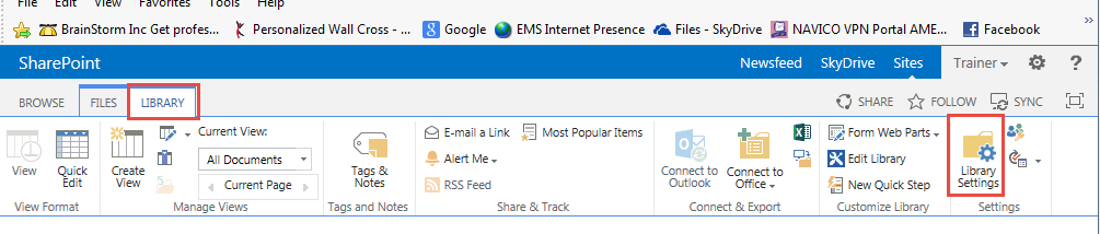 Click Library Settings on Documents Page