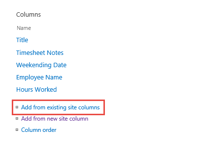 Add from existing site columns