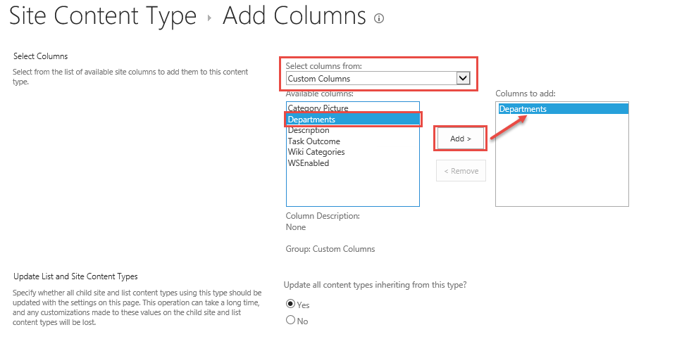 Select Columns to Add