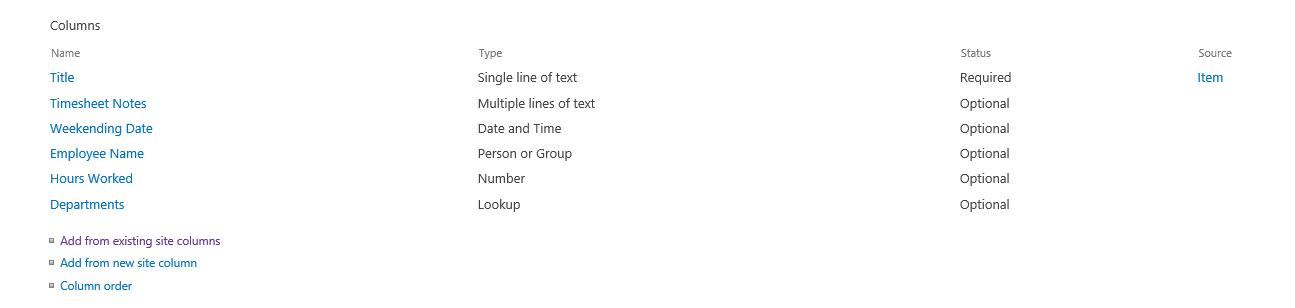 Complete List of Columns