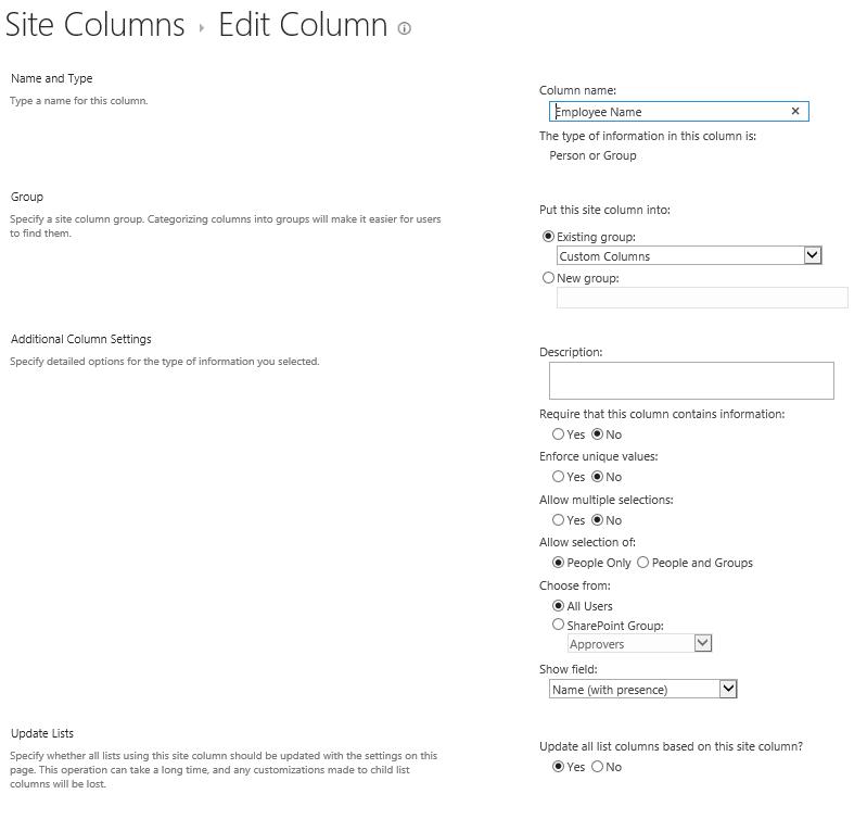 Edit Column Screenshot 2