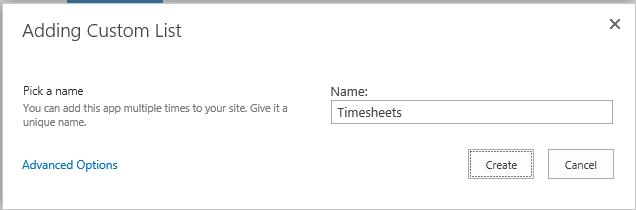 Adding Custom List > Timesheets
