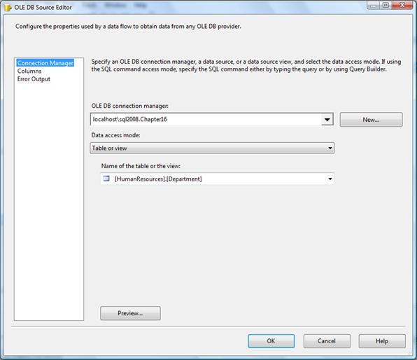 Figure 16-7: Setting up the OLE DB Source
