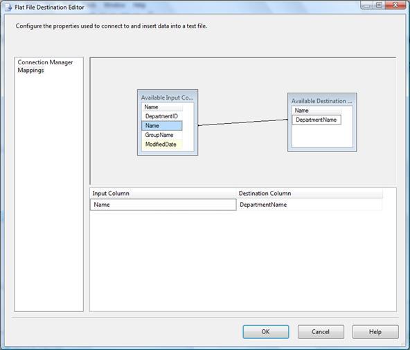 Figure 16-9: Configuring the Flat File Destination