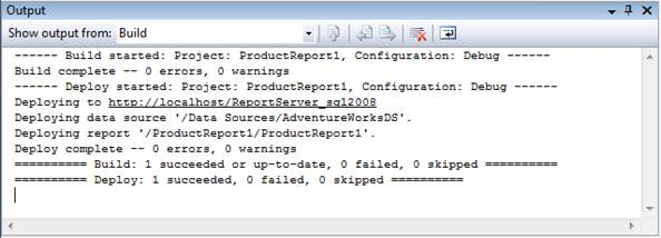 Figure 17-8: Setting report project properties