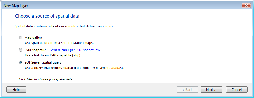 Figure 25: Choosing a Source for Spatial Data